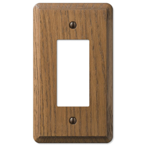 Contemporary Medium Oak Wood - 1 Rocker Wallplate - Wallplate Warehouse