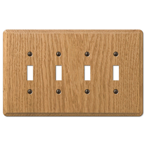Contemporary Light Oak Wood - 4 Toggle Wallplate - Wallplate Warehouse