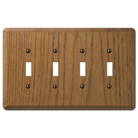 Contemporary Medium Oak Wood - 4 Toggle Wallplate - Wallplate Warehouse