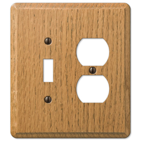 Contemporary Light Oak Wood - 1 Toggle / 1 Duplex Outlet Wallplate - Wallplate Warehouse