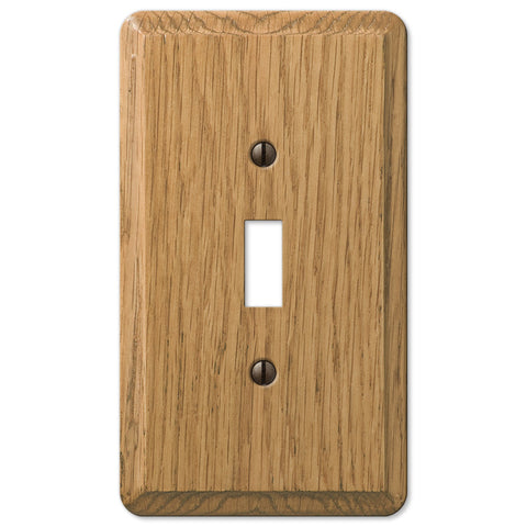 Contemporary Light Oak Wood - 1 Toggle Wallplate - Wallplate Warehouse