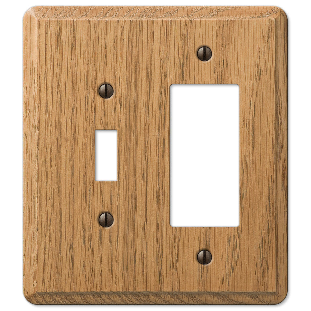 Contemporary Light Oak Wood - 1 Toggle / 1 Rocker Wallplate - Wallplate Warehouse