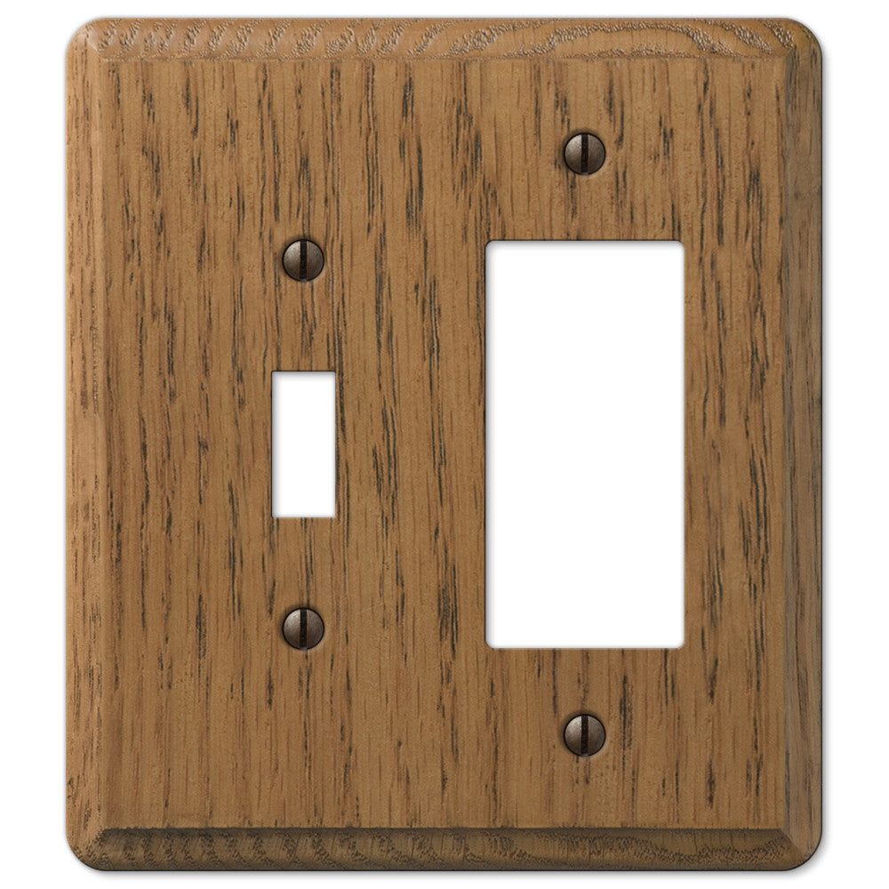Contemporary Medium Oak Wood - 1 Toggle / 1 Rocker Wallplate - Wallplate Warehouse