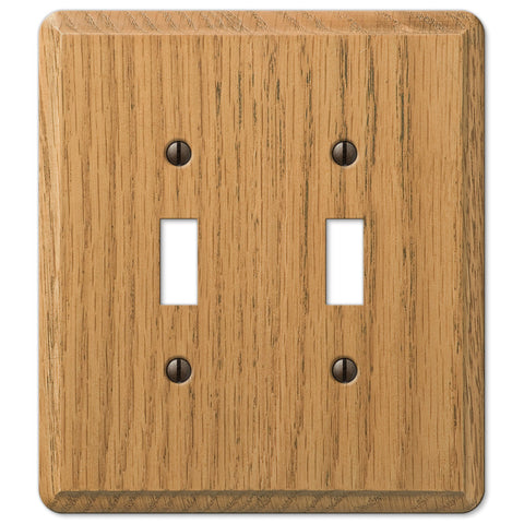 Contemporary Light Oak Wood - 2 Toggle Wallplate - Wallplate Warehouse