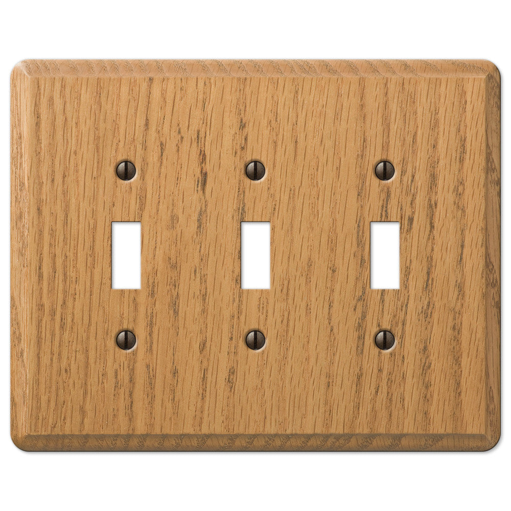 Contemporary Light Oak Wood - 3 Toggle Wallplate - Wallplate Warehouse
