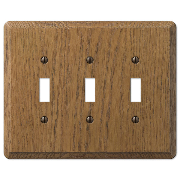 Contemporary Medium Oak Wood - 3 Toggle Wallplate - Wallplate Warehouse