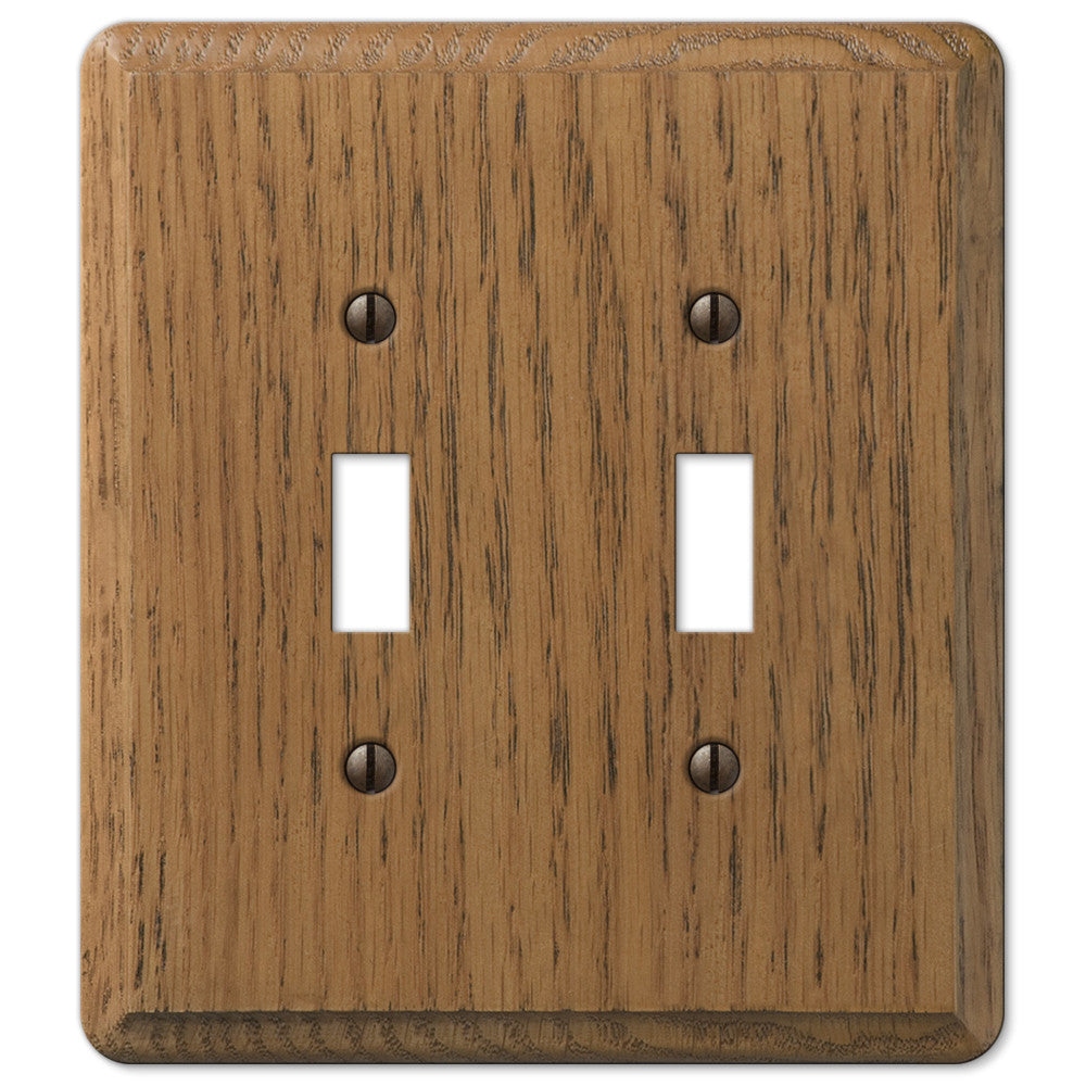 Contemporary Medium Oak Wood - 2 Toggle Wallplate - Wallplate Warehouse