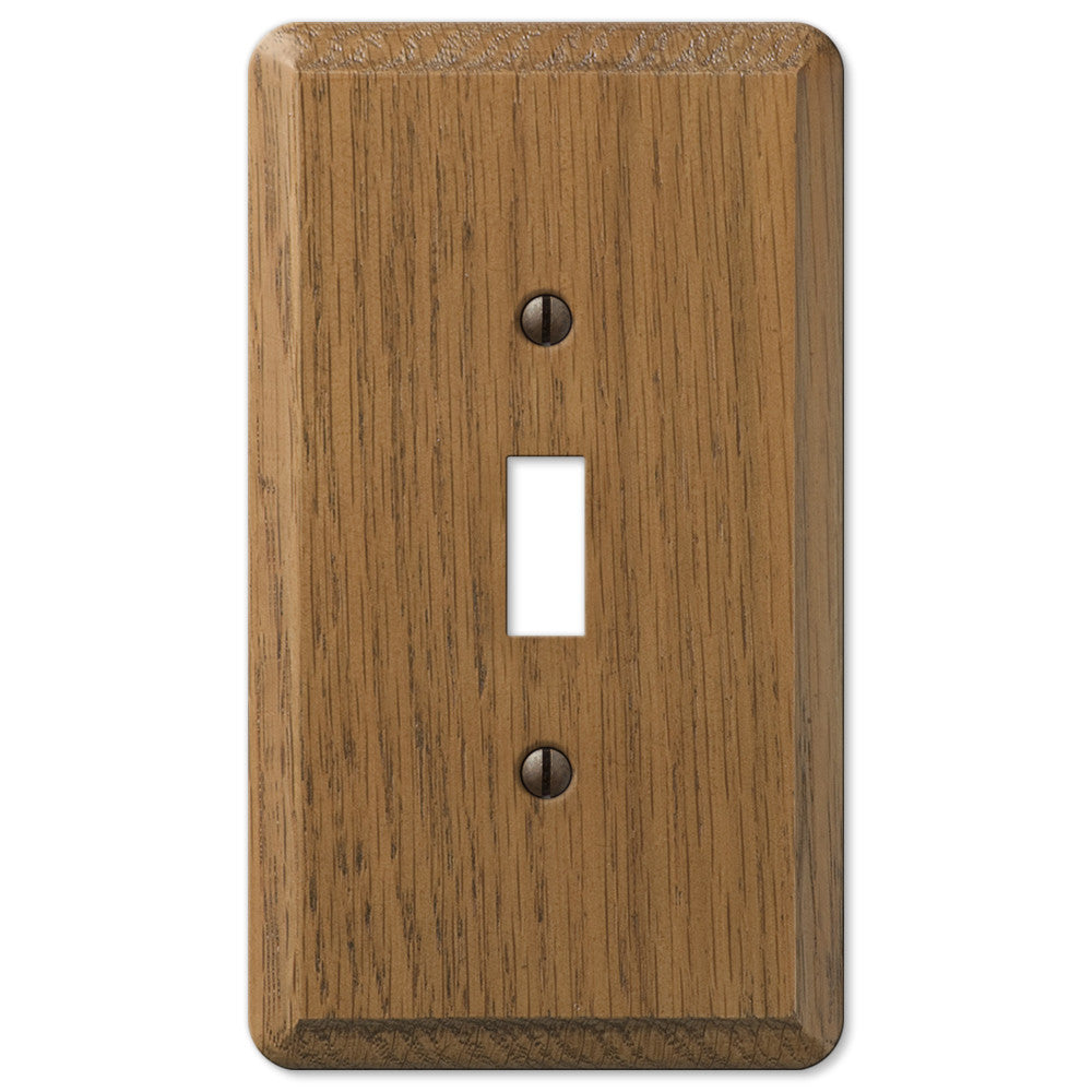 Contemporary Medium Oak Wood - 1 Toggle Wallplate - Wallplate Warehouse