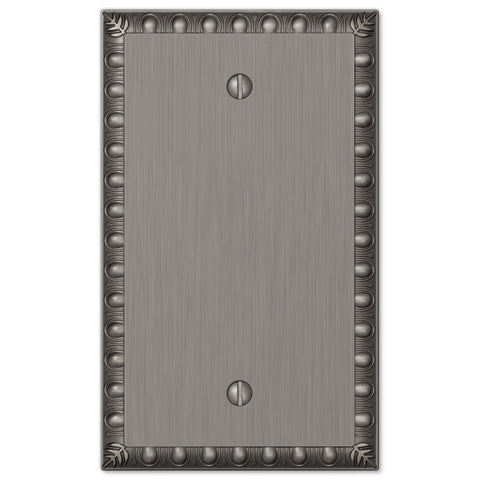 Egg & Dart Antique Nickel Cast - 1 Blank Wallplate - Wallplate Warehouse