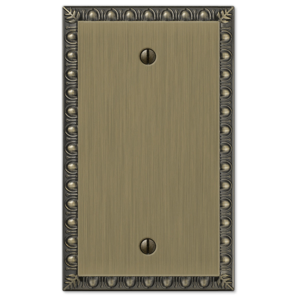 Egg & Dart Brushed Brass Cast - 1 Blank Wallplate - Wallplate Warehouse