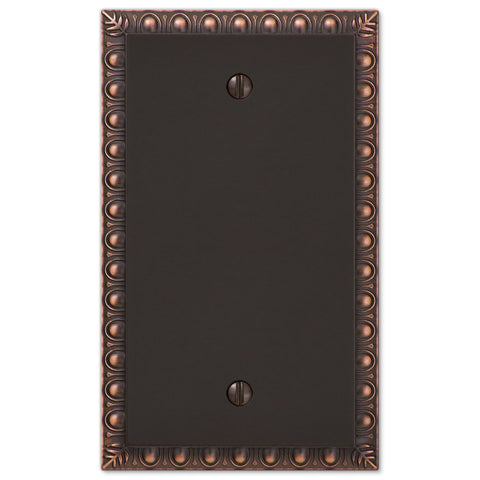 Egg & Dart Aged Bronze Cast - 1 Blank Wallplate - Wallplate Warehouse