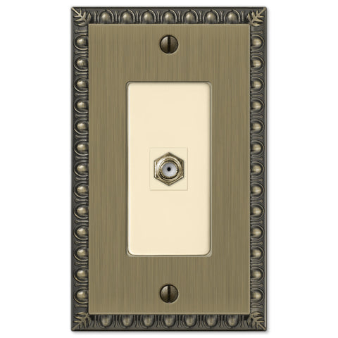 Egg & Dart Brushed Brass Cast - 1 Cable Jack Wallplate - Wallplate Warehouse