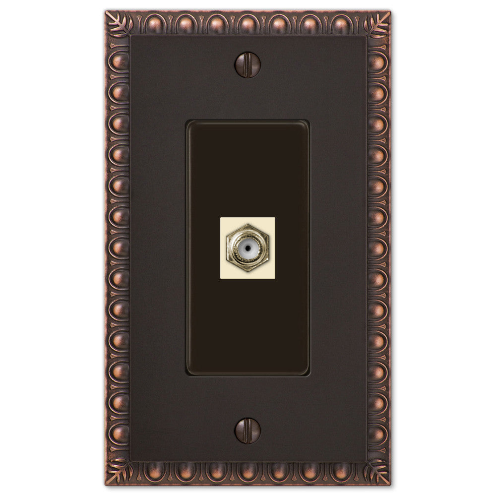 Egg & Dart Aged Bronze Cast - 1 Cable Jack Wallplate - Wallplate Warehouse