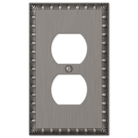 Egg & Dart Antique Nickel Cast - 1 Duplex Outlet Wallplate - Wallplate Warehouse