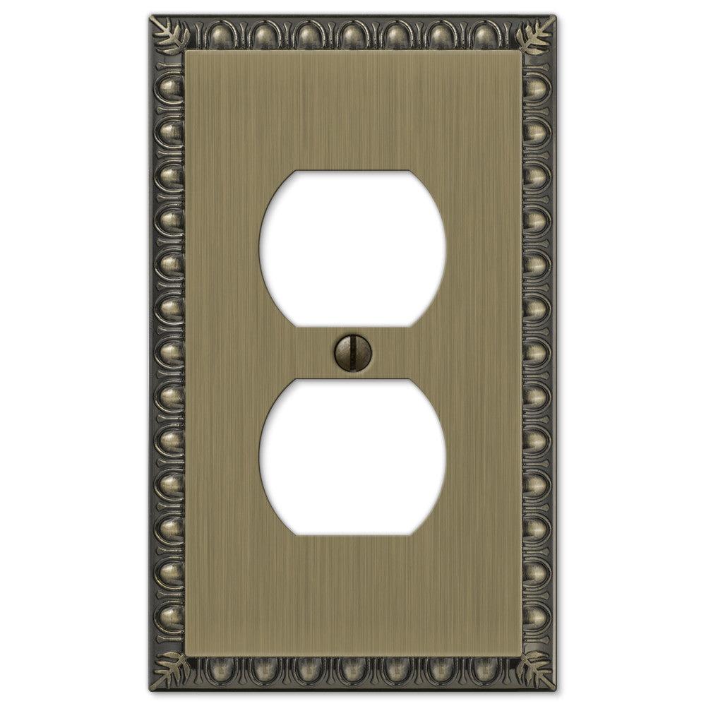 Egg & Dart Brushed Brass Cast - 1 Duplex Outlet Wallplate - Wallplate Warehouse