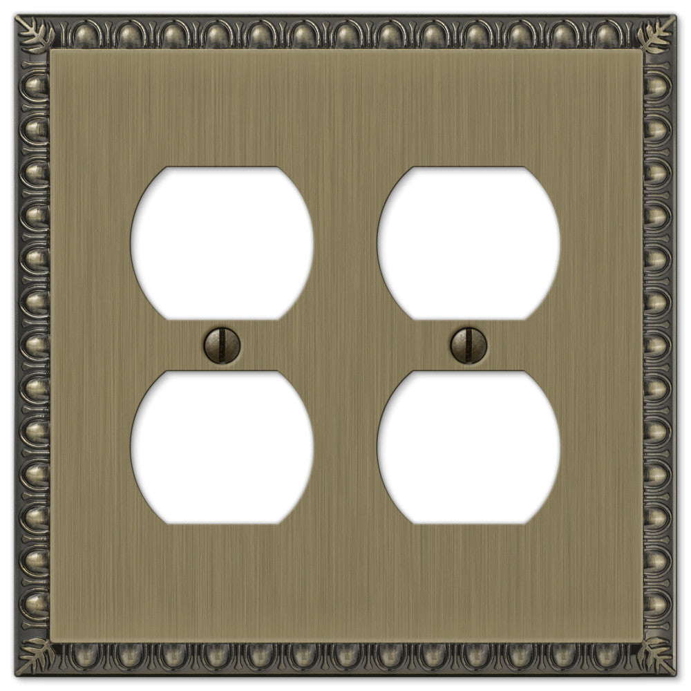 Egg & Dart Brushed Brass Cast - 2 Duplex Outlet Wallplate - Wallplate Warehouse
