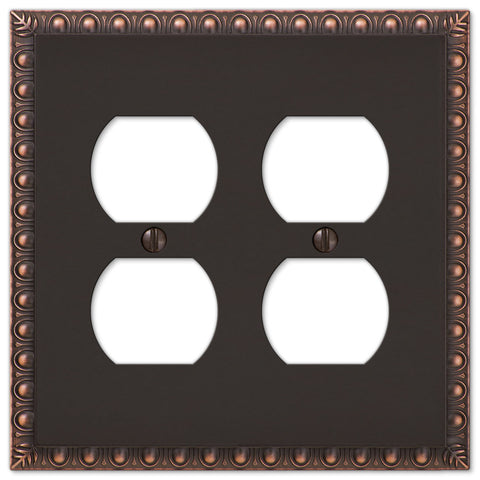 Egg & Dart Aged Bronze Cast - 2 Duplex Outlet Wallplate - Wallplate Warehouse