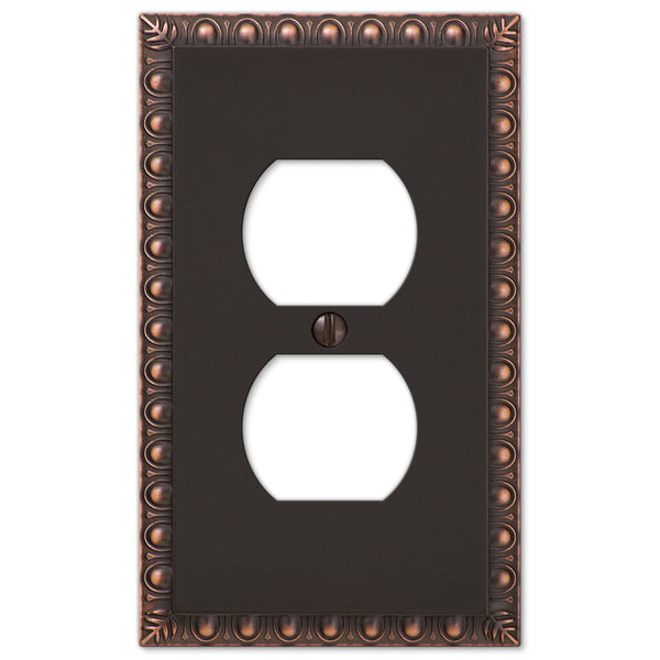 Egg & Dart Aged Bronze Cast - 1 Duplex Outlet Wallplate - Wallplate Warehouse