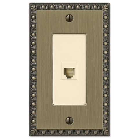 Egg & Dart Brushed Brass Cast - 1 Phone Jack Wallplate - Wallplate Warehouse