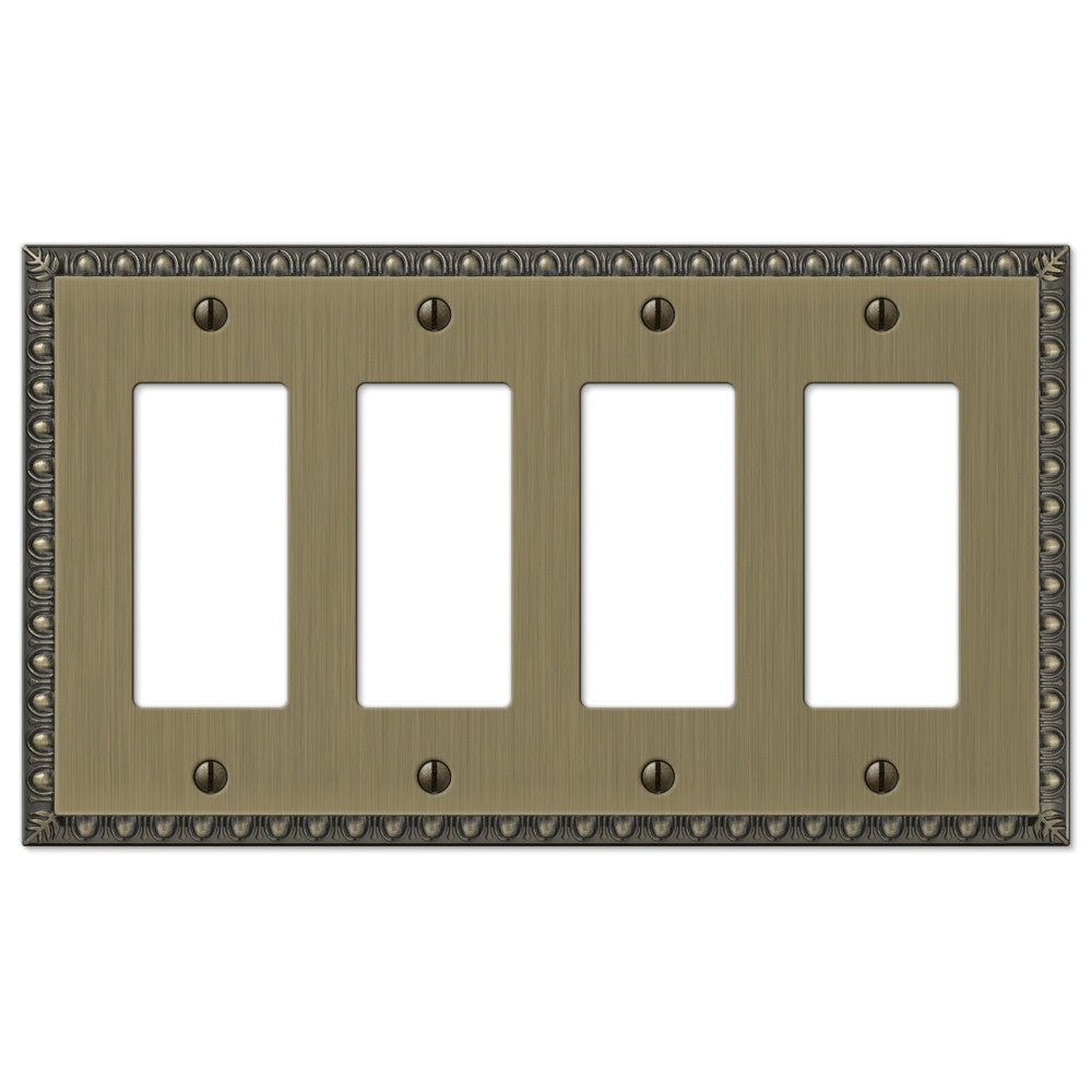 Egg & Dart Brushed Brass Cast - 4 Rocker Wallplate - Wallplate Warehouse