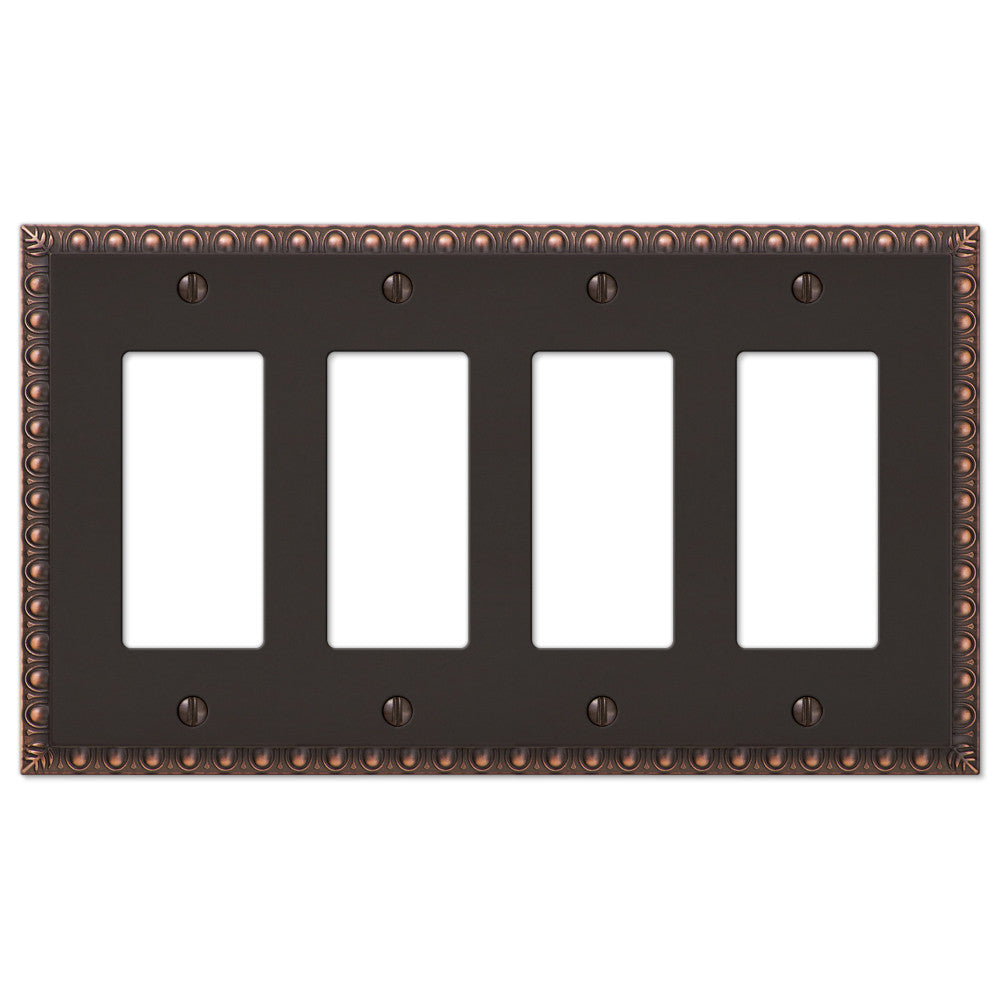 Egg & Dart Aged Bronze Cast - 4 Rocker Wallplate - Wallplate Warehouse