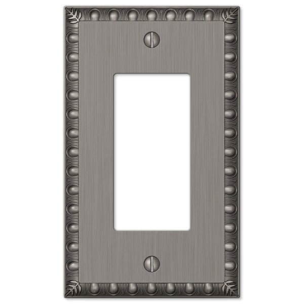 Egg & Dart Antique Nickel Cast - 1 Rocker Wallplate - Wallplate Warehouse