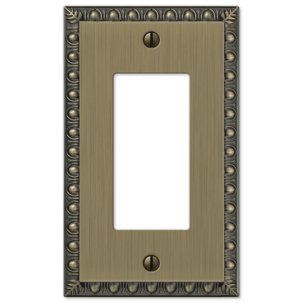 Egg & Dart Brushed Brass Cast - 1 Rocker Wallplate - Wallplate Warehouse
