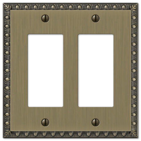 Egg & Dart Brushed Brass Cast - 2 Rocker Wallplate - Wallplate Warehouse