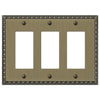 Egg & Dart Brushed Brass Cast - 3 Rocker Wallplate - Wallplate Warehouse