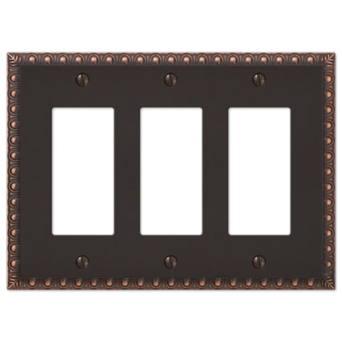 Egg & Dart Aged Bronze Cast - 3 Rocker Wallplate - Wallplate Warehouse