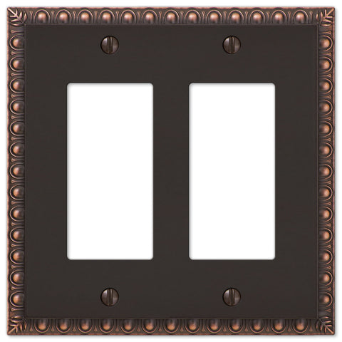 Egg & Dart Aged Bronze Cast - 2 Rocker Wallplate - Wallplate Warehouse