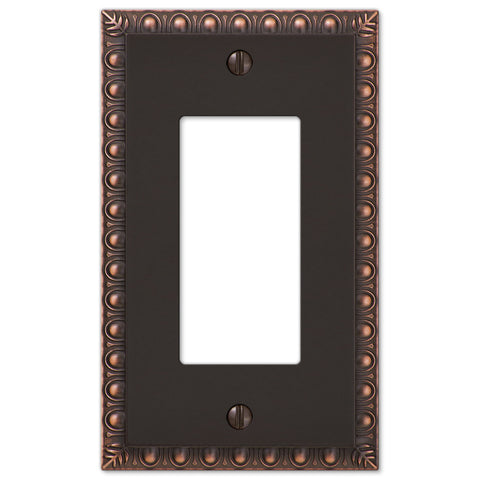 Egg & Dart Aged Bronze Cast - 1 Rocker Wallplate - Wallplate Warehouse