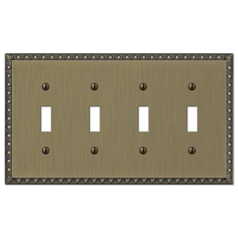 Egg & Dart Brushed Brass Cast - 4 Toggle Wallplate - Wallplate Warehouse