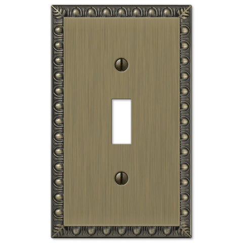 Egg & Dart Brushed Brass Cast - 1 Toggle Wallplate - Wallplate Warehouse