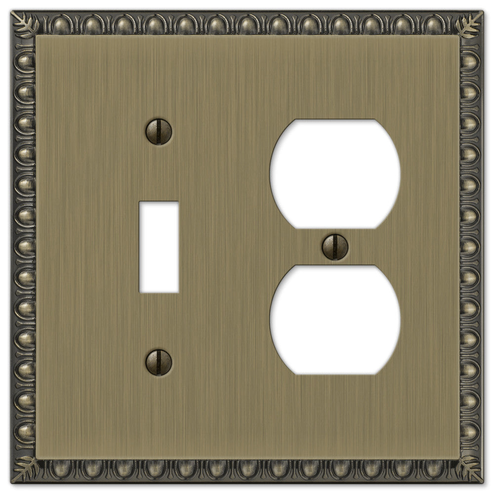 Egg & Dart Brushed Brass Cast - 1 Toggle / 1 Duplex Outlet Wallplate - Wallplate Warehouse