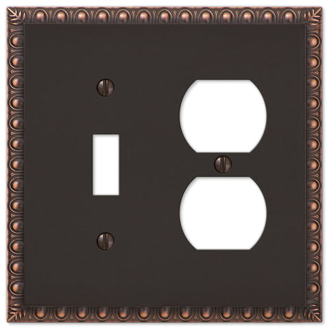 Egg & Dart Aged Bronze Cast - 1 Toggle / 1 Duplex Outlet Wallplate - Wallplate Warehouse