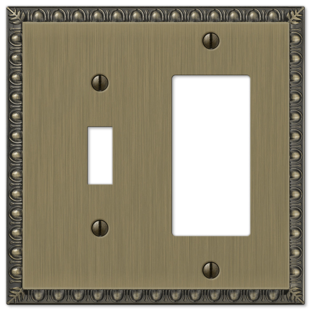 Egg & Dart Brushed Brass Cast - 1 Toggle / 1 Rocker Wallplate - Wallplate Warehouse