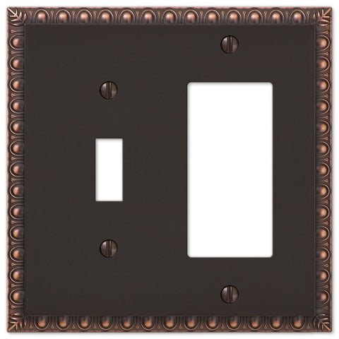 Egg & Dart Aged Bronze Cast - 1 Toggle / 1 Rocker Wallplate - Wallplate Warehouse