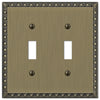 Egg & Dart Brushed Brass Cast - 2 Toggle Wallplate - Wallplate Warehouse