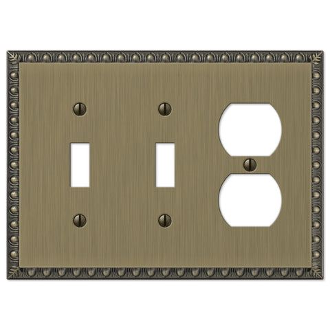 Egg & Dart Brushed Brass Cast - 2 Toggle / 1 Duplex Outlet Wallplate - Wallplate Warehouse