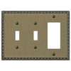 Egg & Dart Brushed Brass Cast - 2 Toggle / 1 Rocker Wallplate - Wallplate Warehouse