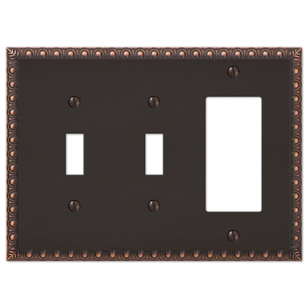 Egg & Dart Aged Bronze Cast - 2 Toggle / 1 Rocker Wallplate - Wallplate Warehouse