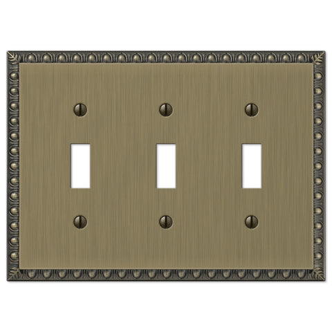 Egg & Dart Brushed Brass Cast - 3 Toggle Wallplate - Wallplate Warehouse