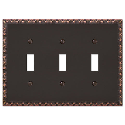 Egg & Dart Aged Bronze Cast - 3 Toggle Wallplate - Wallplate Warehouse