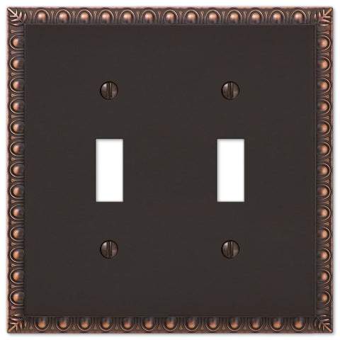 Egg & Dart Aged Bronze Cast - 2 Toggle Wallplate - Wallplate Warehouse