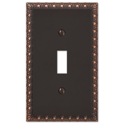 Egg & Dart Aged Bronze Cast - 1 Toggle Wallplate - Wallplate Warehouse