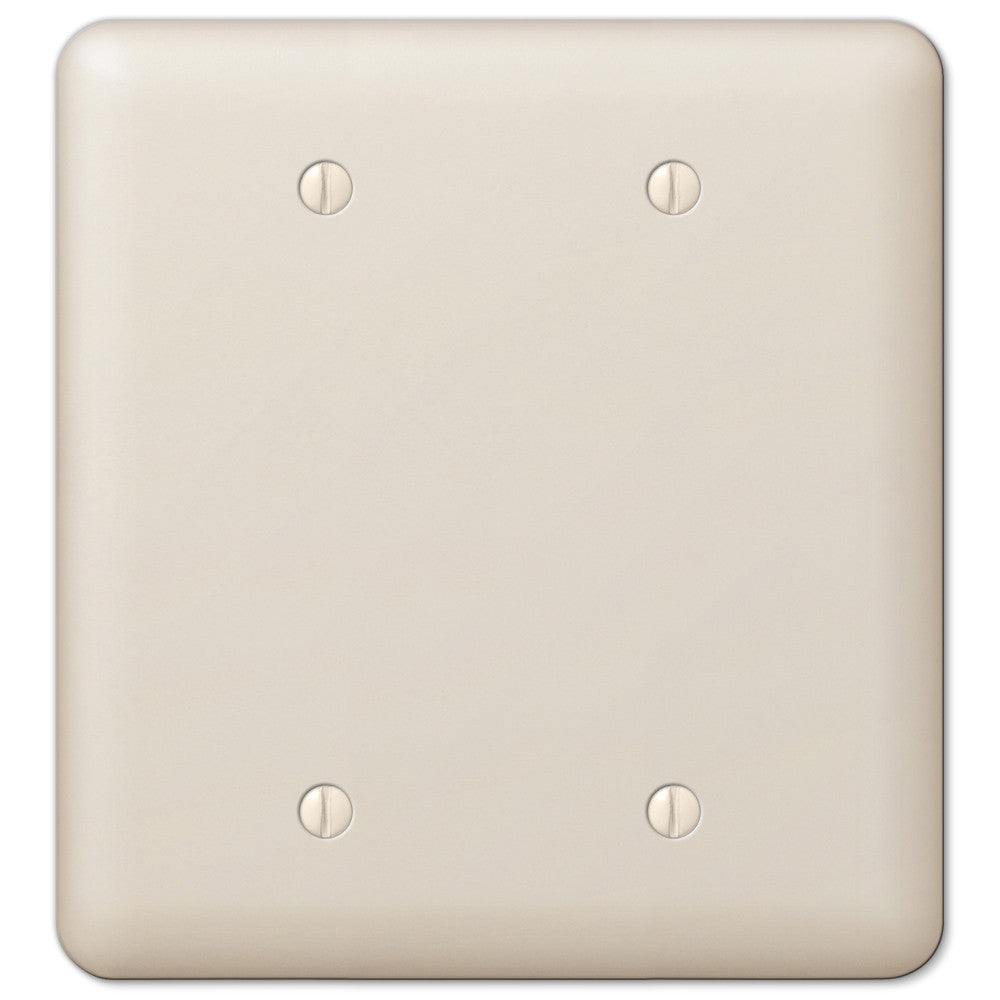 Devon Light Almond Steel - 2 Blank Wallplate - Wallplate Warehouse