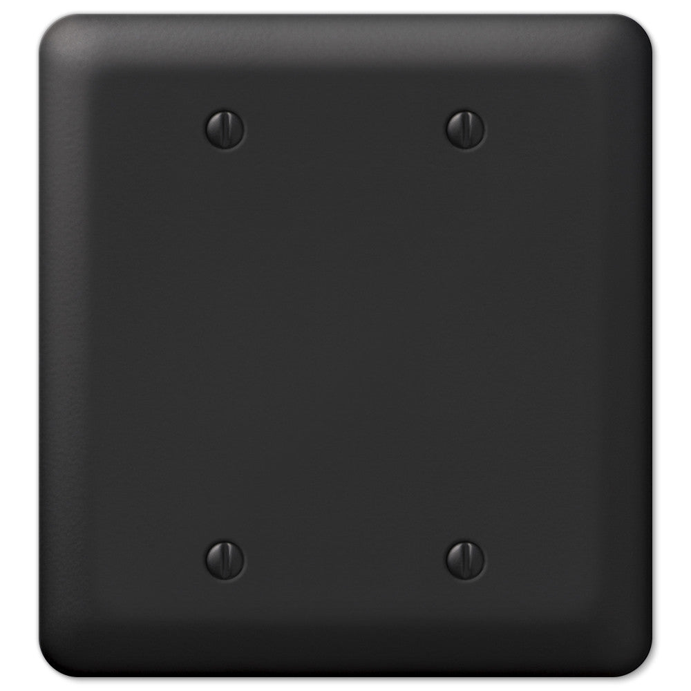 Devon Black Steel - 2 Blank Wallplate - Wallplate Warehouse