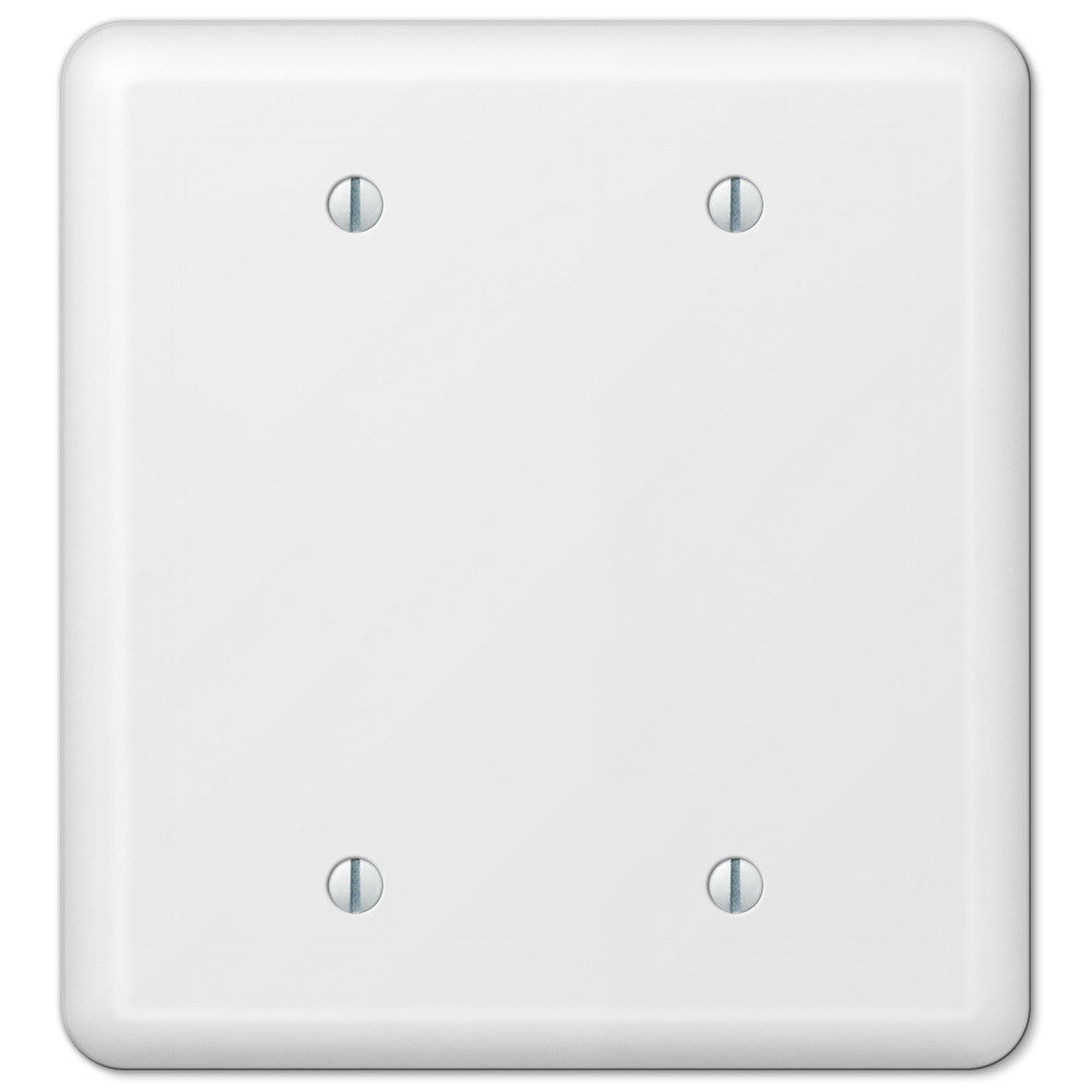 Devon White Steel - 2 Blank Wallplate - Wallplate Warehouse
