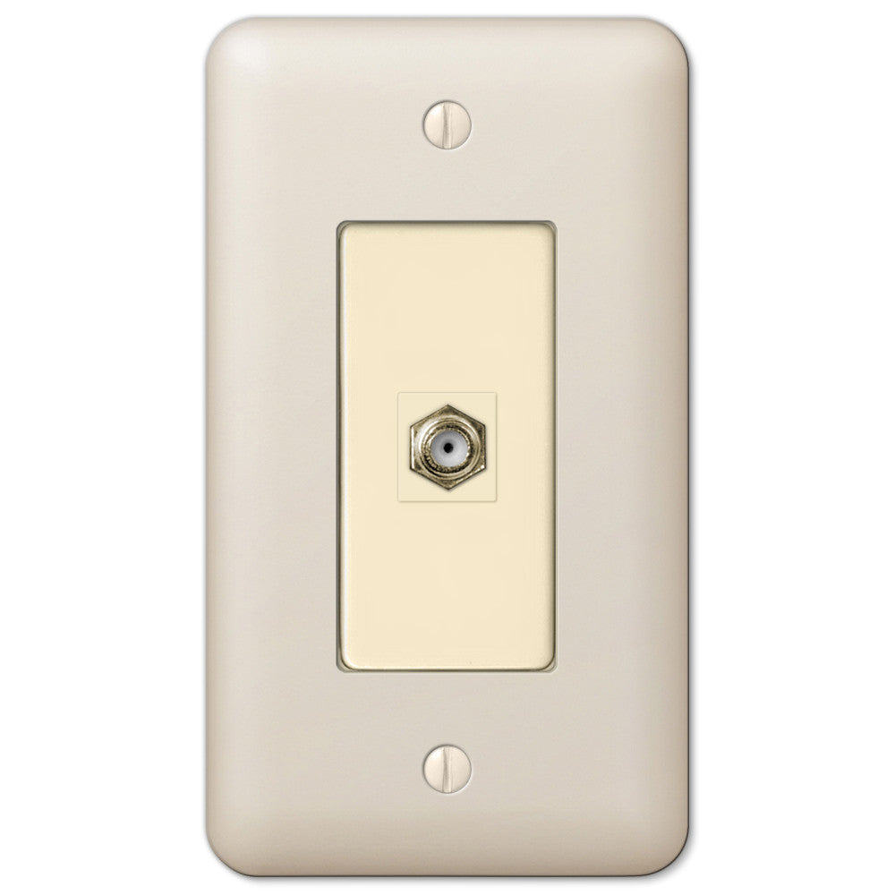 Devon Light Almond Steel - 1 Cable Jack Wallplate - Wallplate Warehouse